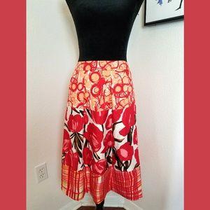 Peter Nygard Bold Floral Silk Skirt Sz 16